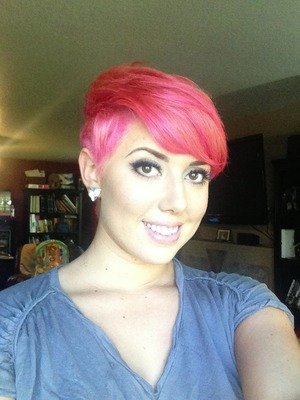 """Lightened my whole head and used two different pink """"Fudge"""" hair colors. (Which Ed Wyse used to carry, but is now discontinued).  Cut and Color by Janelle Winter of Aimee J'Adore Salon in Portland Oregon."""