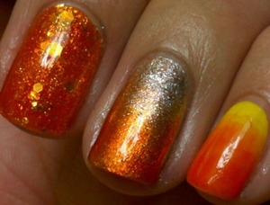 Playing around with my new orange jelly polish from The Face Shop: jelly sandwich and gradients.