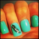 turquoise feather nails❤