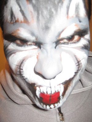 Wolf face paint using face paint and eyeliner - inspired by the Wolfe brothers