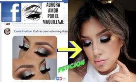 PETICION de FACEBOOK ahumado con PLATA  / SILVER SOFT CUT CREASE  makeup tutorial   auroramakeup