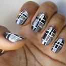 Metallic Abstract Squares Nail Art Design
