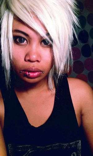 Who said you couldn't be bleached blond with tan skin? Hahah It's actually a wig. I wish I could get my hair this color.