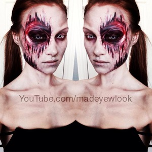 Rotten zombie tutorial available on my youtube channel, youtube.com/madeyewlook! Check it out! Latex free, mess free!
