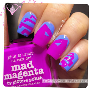 Cartoon-ish spider using right angles Nail Vinyls and piCture pOlish Mad Magenta and Swagger.  A Blog/ Insta Fest 2014 project. More details on http://www.alacqueredaffair.com/piCture-pOlish-Blog-Insta-Fest-2014-35548656