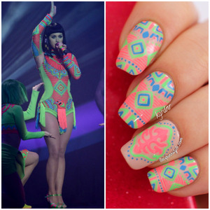 More photos & a tutorial here: http://www.lacquerstyle.com/2014/03/katy-perry-brit-awards-2014-neon-tribal.html
