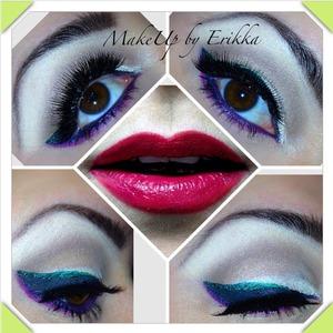 Colorful understated winged eyeliner