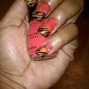 Tiger Stripes with Gold Flowers