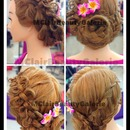 Classic Bridal Ribbon Flower Braid Updo
