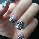 my nails zebra and glitter<3