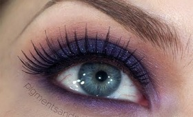 Autumn Makeup Series - Autumn Evening Inspired Purple & Orange Glittery Smokey Eye