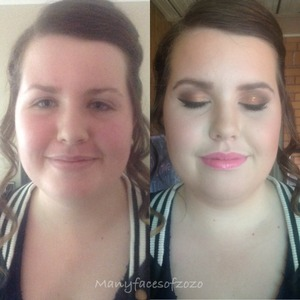 Before and after of a clients formal makeup.