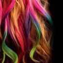 Blonde and rainbow strands