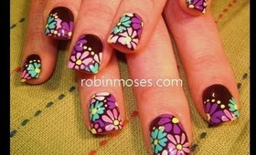 Funky Fresh hippie flowers for spring: robin moses nail art tutorial