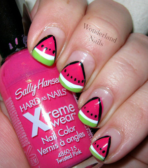 For more info please visit my blog http://wonderland-nails.blogspot.com/2013/07/watermelon-nail-art.html