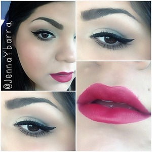 """I used MAC """"Charmed I'm Sure"""" from the Marilyn Monroe collection.  On the eyes is the Meet Matte Nude edition by The Balm and then walking on eggshells palette by Wet n Wild.  Maybelline liquid liner."""