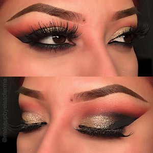 Anastasiabeverlyhills shadows modern Renaissance  Venetian red  Red ochre  Love letter crease Deliziososkincare intense black loose liner powder could be used as liquid liner or shadow I used it outer v & inner crease Primavera & Vermeer Lid Huda lashes Scarlett
