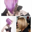 purple hair sharp a-line haircut hairstyle