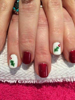 Gel Nail Polish, Nail art, Christmas, Festive, Holly