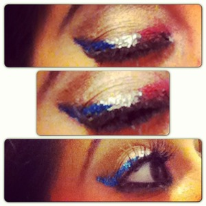 Created this look with NYx primer, urban decay eyeliner, Stila black and white liquid eyeliner, lit cosmetics glitter, and coastal scents pallet and too faced pallet   Have a safe and 4th of July