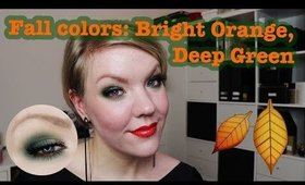 Fall makeup tutorial: Bright orange, dark green