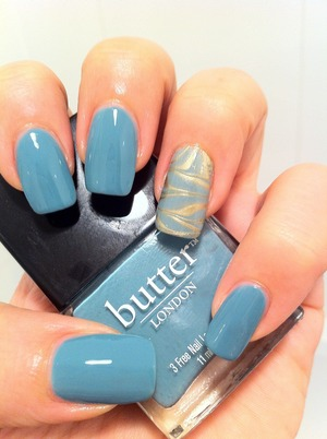 Butter London Artful Dodger and water marble Accent Nail