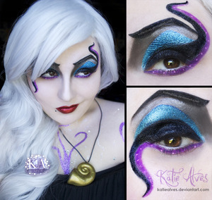 Here's my Ursula Cosplay makeup! I cosplayed as her this weekend for Fan Expo. This was my first cosplay and oh my god I loved it. I had the full tentacle dress (pictures of that will be coming, just trying to find the billion pictures that everyone took!) as well as Flotsam and Jetsam swimming around the dress. I made the necklace and earrings (which you can't see, but i'll be posting pictures of that too.) It's a little hard to see, but my entire upper body is COVERED in glitter... and I mean covered. I got up at 5 am after 2 hours sleep to do the makeup. It took 4 hours to get ready! I did swirls of glitter and also swirls of jewels. I'm just waiting to get a bill from the hotel for glitter damage!   My dress weighed a billion pounds, so it was pretty painful to wear, but I will definitely be doing it again!