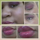 Bad camera but pink purple and gold with a pinkish purple lip. :)