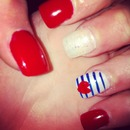 sailor nails I have right now🎀💅❤💙