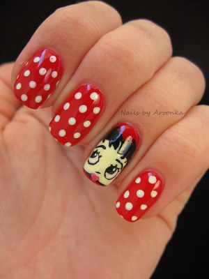 FOR MORE PHOTOS CLICK HERE: http://arvonka-nails.blogspot.sk/2012/10/halloween-la-betty-boop.html