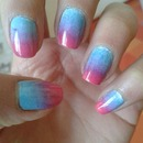 Ombre Nails Blue Purple Pink