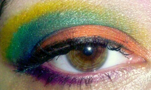 orange, blue, green and yellow look