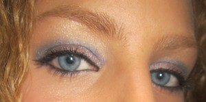 Mally Beauty Shadow Liners in Deep Taupe on lid and Cobalt in crease.