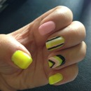 Neon yellow pale pink nails
