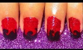 Red Hot nail art tutorial.... :-)