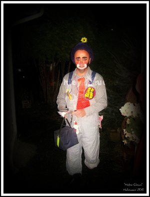 "My Dad - ""Hobo Clown"" Halloween 2010 (I did his makeup at 3am before he went to work, he won 1st prize)"