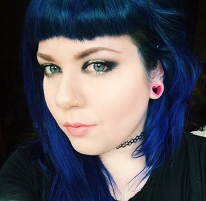 """Other products used that I couldn't tag:  Hikari Cosmetics blush in """"Tango"""" Melt Cosmetics eyeshadow in """"Dark Matter"""" and """"Unseen"""" Melt Cosmetics lipstick in """"Summer"""" Special Effects hair dye in """"Electric Blue"""""""