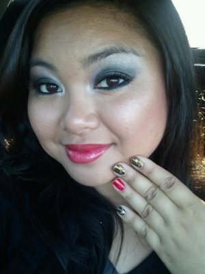 Smokey Eye, Red Lips, and Gold, Silver, Red, and Black Nails