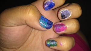 EACH NAIL HAS MULTIPULE COLORS OF THE SAME COLOR WITH CHINA GLAZE CRACKLE GLAZE OVER THEM