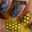 Fuzzy Honeycomb Nail Art
