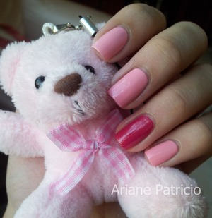 I used China Glaze Strawberry Fields on the Accent Nail and Face Shop PK102
