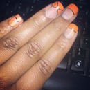 orange and silver strip nails for fall