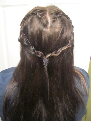 frist try at a waterfall heart braid .. looks good but hopefully i can do better next time