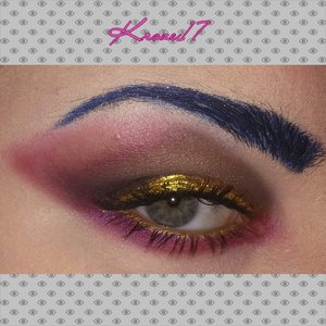Boldistic Manic!  I'm speechless so I won't be writing much about this look. Either you like it or not. Lol #Makeup #art #makeuplook #Beautyshot #beautyproducts #beauty #cosmetics #interestingmakeup #intense #bold #creative #coloredbrows #gold #smokeyeye #instamakeup #instabeauty #kroze17
