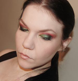 Green & Red, sparkly. Model: myself.