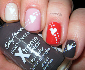 Sally Hansen Grey Area, China Glaze Make Some Noise, Color Club Get a Clue and Orly Pure Porcelain and white acrylic paint for the hearts and dots