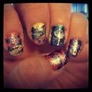 Rainbow zebra glitter nails