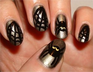 Spider & Web Nails Nail tutorial & more photos here: http://www.swatchandlearn.com/nail-art-tutorial-spider-web-nails/