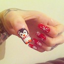 penguin and snow flakes