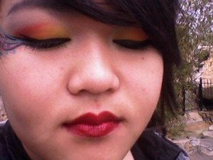super bright rainbow! and red red lips!